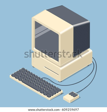 Retro personal computer. Old PC with display, keyboard, mouse. Isometric vector illustration