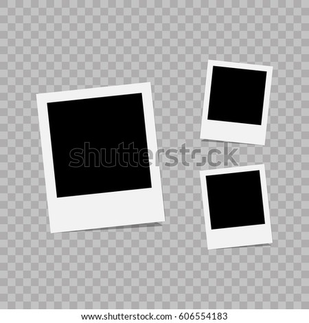 Retro photo frame attached with adhesive tape. Sweet memories concept. Vector illustration #606554183