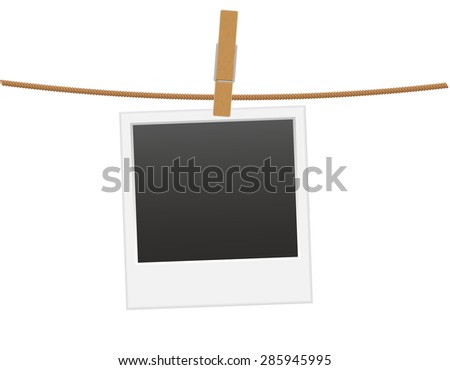 retro photo frame hanging on a rope with clothespin vector ...
