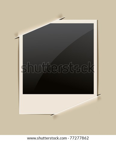 retro photo frame on paper background