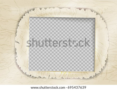 retro photo frame paper ripped