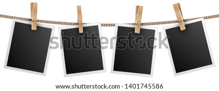 Retro photo frames hanging on rope isolated on white background vector illustration Stockfoto ©