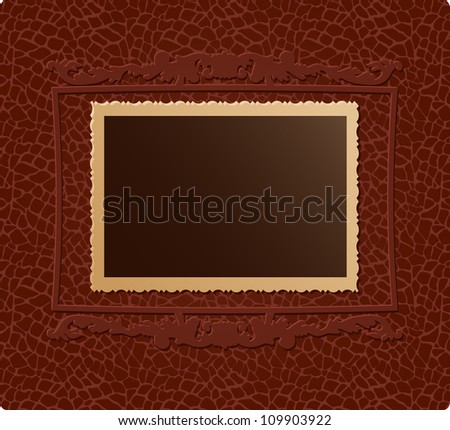 Retro photo on brown skin texture with decorative frame