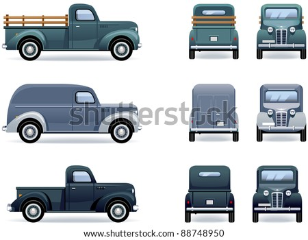 Retro pickup truck and van (1930-40th). Car icons in vector. The shadows are in the separate layer.