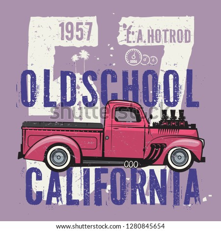 Retro pickup truck poster with text L.A. Hot Rod, Oldschool, California. Vector illustration