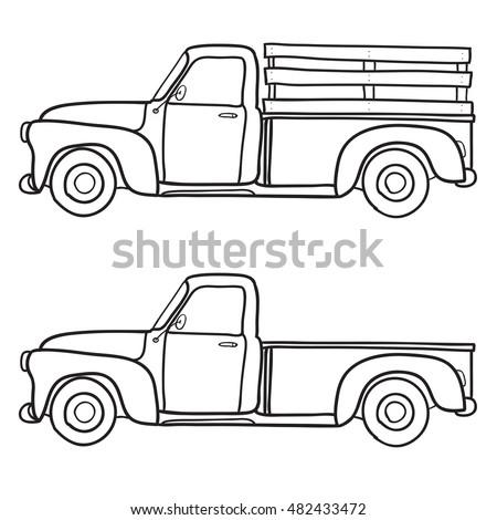 Retro pickup truck. Vector doodle illustration