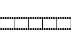 Retro picture tape film camera. Cinema filmstrip. vector