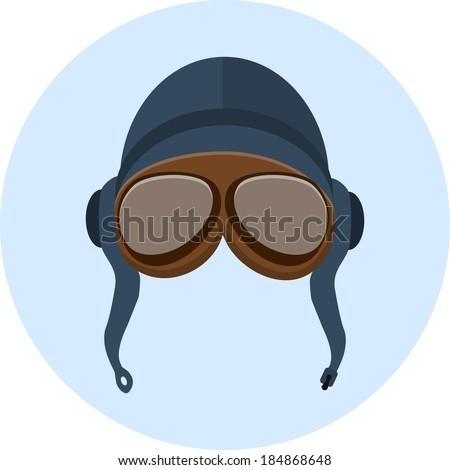 Retro pilot helmet  and goggles