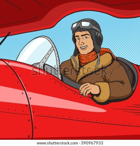retro pilot in vintage plane