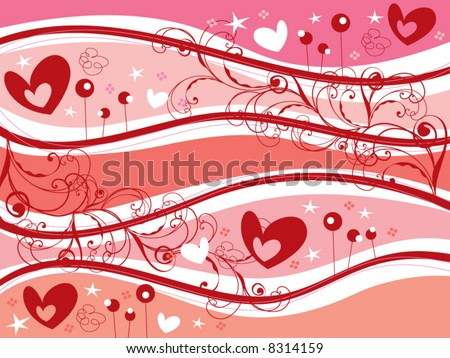 stock vector : retro pink hearts and swirls valentine (vector)