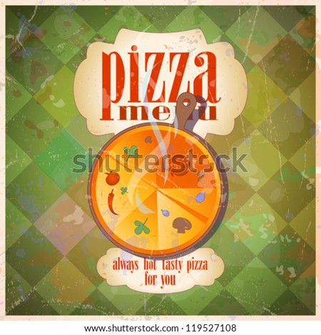 Retro pizza menu card design template. Eps10.