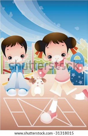 Retro Play Time - enjoying break time with a lovely young girl and a funny boy in the playground on clear sunny day on background with beautiful, bright blue sky and pink field : vector illustration