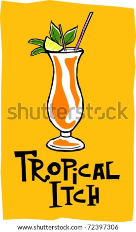 Retro Polynesian Tropical Itch Tiki Cocktail Drink Vector Illustration