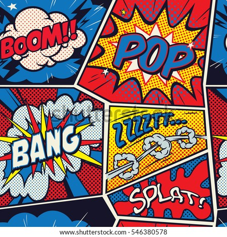Retro Pop Art comic shout seamless pattern