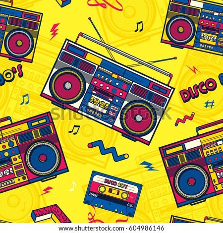 Retro Pop Eighties Boombox Radio Seamless Pattern. 80's Background Wallpaper