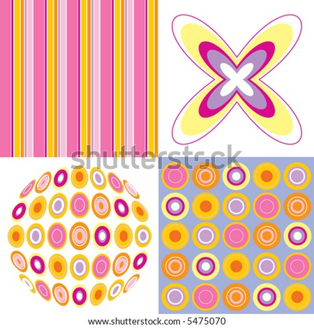 retro pop pink yellow 4 pattern combo (vector)