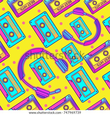 Retro Pop 90s Audio Seamless Pattern. Background, Wallpaper with cassette and earphones