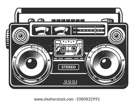Retro portable stereo radio cassette recorder. Vector illustration