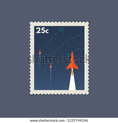 retro postage space stamp