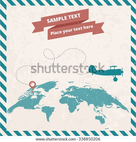 retro postage stamp with...
