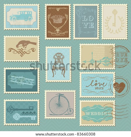 Retro Postage Stamps for wedding design invitation congratulation scrapbook