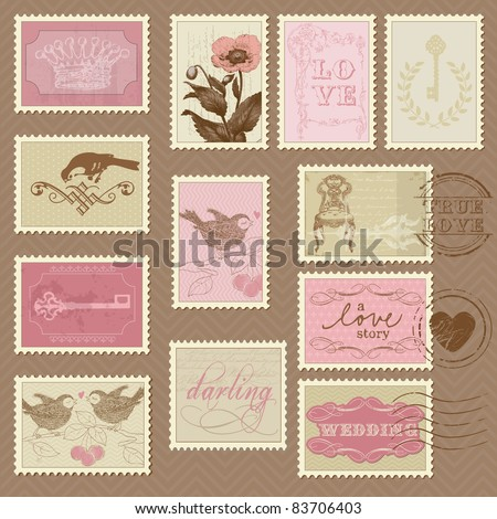 retro postage stamps   for
