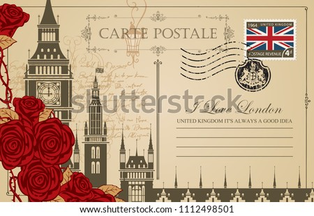 Retro postcard with Big Ben in London, Palace of Westminster, UK. Romantic vector postcard in vintage style with place for text, red roses and words I love London on the background of old manuscript