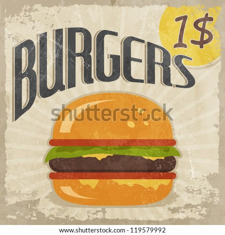 Retro poster Burgers with price