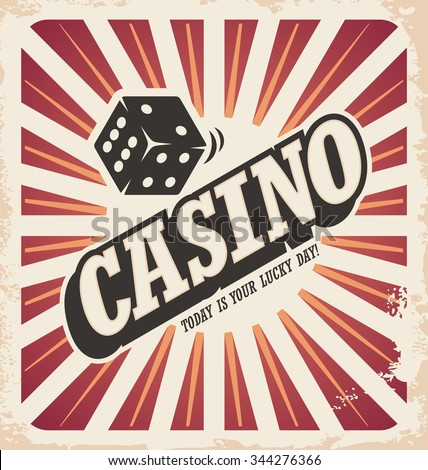 Retro poster design for casino. Gambling vintage ad document template. Wall decoration art design.