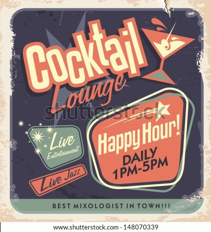 Retro poster design for cocktail lounge. Vintage card layout on old paper texture for bar or restaurant.