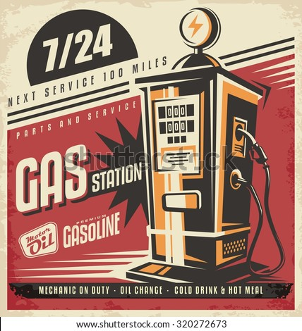 retro poster design for gas...