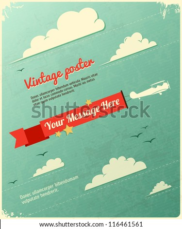 Retro Poster Design with clouds. Vector Illustration
