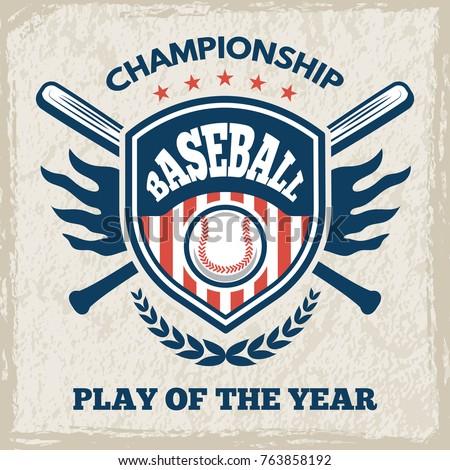 Retro poster for baseball club. Sport emblem in vector style. Baseball emblem club, sport game logo for tournament illustration