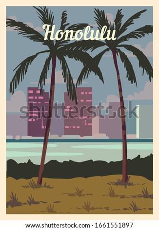 retro poster honolulu city