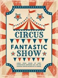 Retro poster. Invitation for circus magic show. Invitation poster circus event. Vector illustration