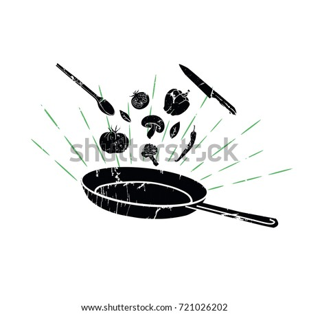 Retro Poster of  Organic, Healthy food. Flipping  Food in a Pan. Cooking Process Vector illustration. Vintage Silhouettes of Vegetables and Utensils. Elements  for  Cafe, Restaurant or Home Cooking.