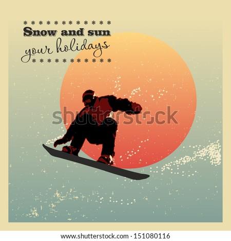 retro poster snowboarder