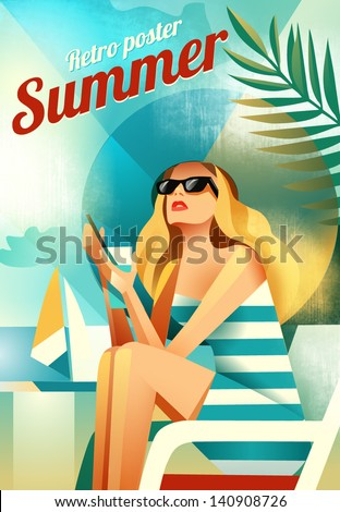 retro poster with a girl