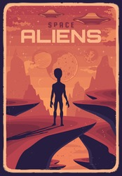 Retro poster with alien and ufo on planet with red surface, vector extraterrestrial creature rear view looking in sky with flying saucers. Space exploration card, outer cosmos with stars and planets