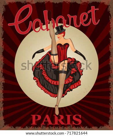 retro poster with cancan dancer