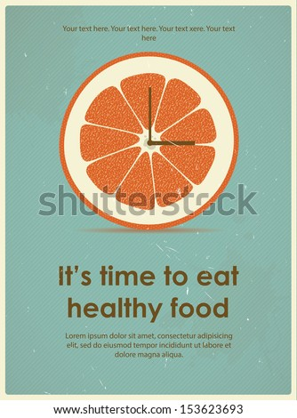 Retro poster with citrus for a healthy lifestyle Eps 10