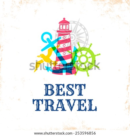 Retro poster with travel symbols #253596856