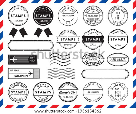 Retro postmark, stamp, and frame set