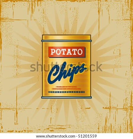 Retro Potato Chips Can. Vector