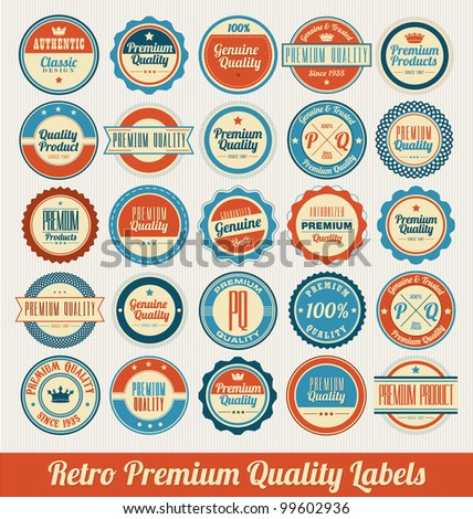 Retro Premium Quality Labels - stock vector