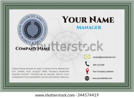 Retro Presentation Card. Artistry design. Detailed.With complex linear background.