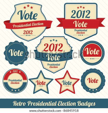 Retro Presidential Election Badges - stock vector