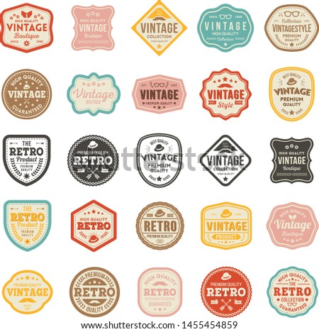 Retro product badge collection vector