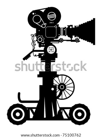 Retro professional cinema film camera, vector illustration