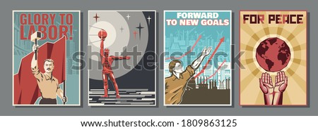 Retro Propaganda Posters Style, Labor, Equality, Work and Peace